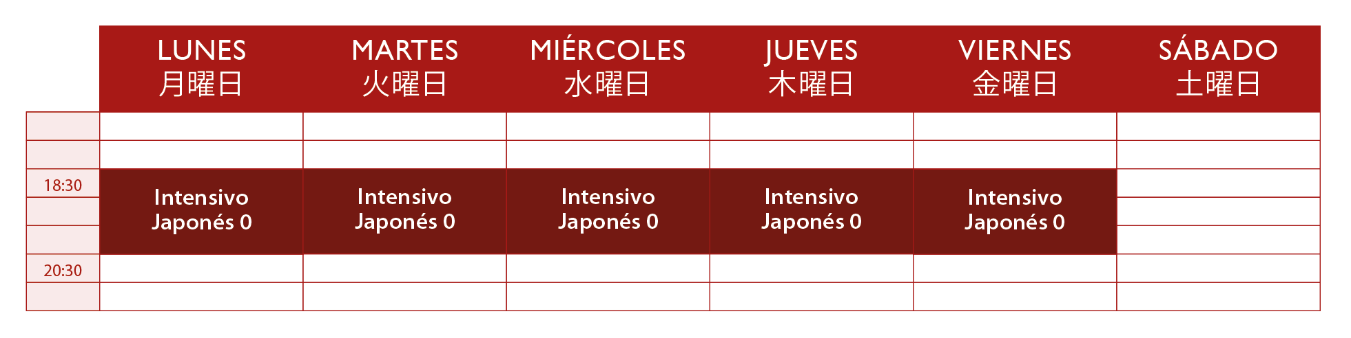aprende japonés online horarios